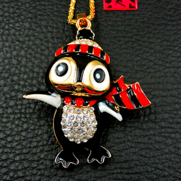 Betsey Johnson Christmas Penguin Necklace